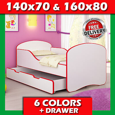 TODDLER CHILDREN BED + COLORFUL EDGE DRAWER 140x70 160x80