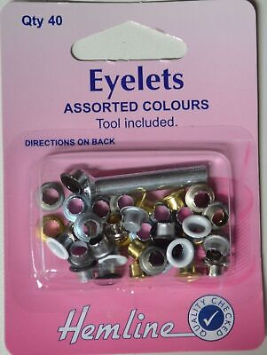 Hemline Eyelets, Assorted Colours, Tool Included, 40 Pieces, Directions On Pack