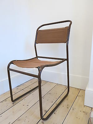 Vintage Tubular Steel & Canvas Stacking Chairs - By Cox