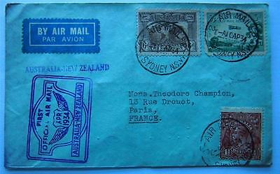 First Flight Official Stamped Air Mail Envelope Australia - New Zealand -  Paris