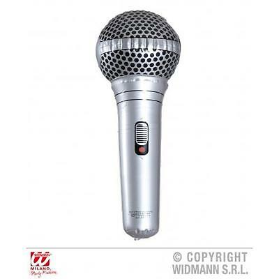 Silver Inflatable Microphone 25cm Long X Factor The Voice Karaoke Fancy Dress
