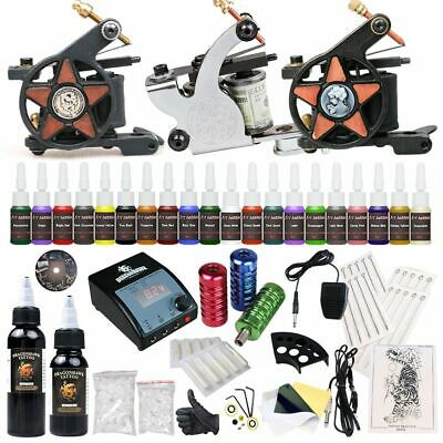 Professional Complete Tattoo Kit 3 Top Machine Gun 20 Ink 50 Needle Power Supply