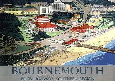 Vintage Railway Advertising  rail travel poster  A4 RE PRINT Bournemouth Lscape