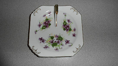 VINTAGE OCCUPIED JAPAN SAJI FANCY CHINA VIOLET & GOLD GILT FINGER BOWL / DISH