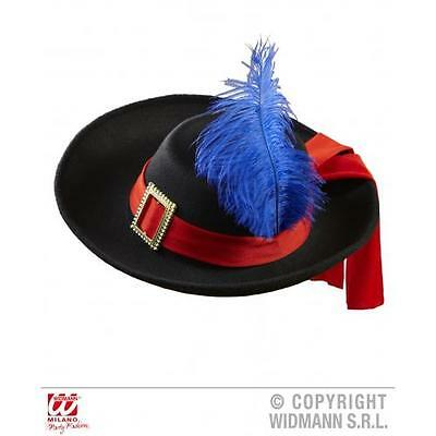 Black Musketeer Hat With Feather Fancy Dress Felt Adult