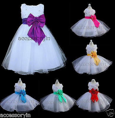Girls Party/Bridesmaid/Princess/Prom/Wedding/Christening Colour Bow Flower Dress