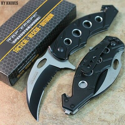 "7.5"" BLACK Assisted Open Tactical Karambit Rescue Pocket Knife TF-516BK zix"