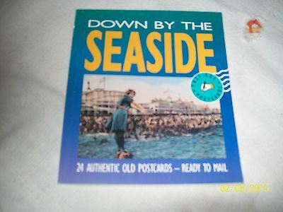 """1990 Down By The Seaside,24 Authenic,reprints,old Postcards Book 6 1/4 X 7 1/4"""""""