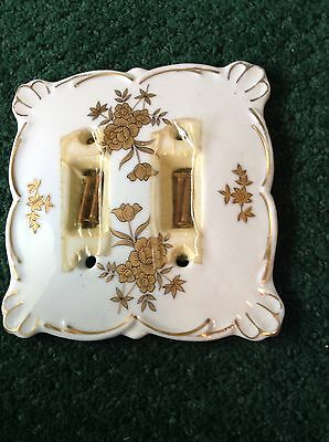 Hollywood Regency Ceramic Double Switch Plate White Gold Vintage 3 Available