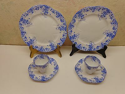 Shelley England Dainty Blue Demitasse Cup Saucer Salad Dessert Lunch Plate Lot/2