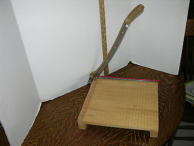 Vtg AWESOME 12x12 INGENTO 1132 PAPER CUTTER Hard Maple Wood Board  Guillotine