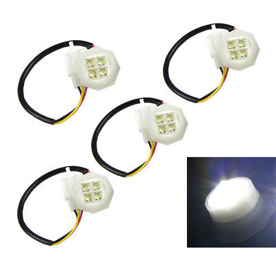 4 White LED Hide-Away Flash Strobe Tube Replacement Spare Headlight Bulbs 180W