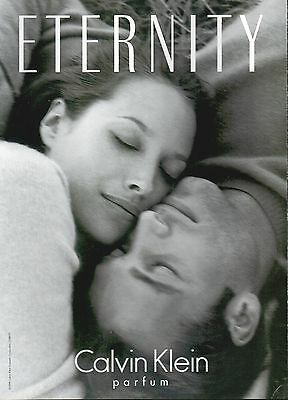 ▬► PUBLICITE ADVERTISING PARFUM PERFUME Eternity CALVIN KLEIN 1998 recto verso