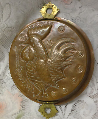Vintage Copper Cake Jelly Dessert Mold Hanging Loop Tin Easter Rooster