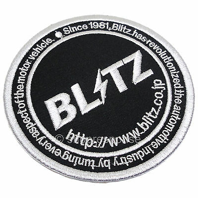 BLITZ Circle Logo Patch Embroidered Iron-On/Sew-on Black/Silver 18941 Genuine
