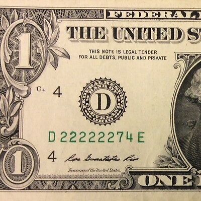 222222 Fancy 6/8 $1.00 2009 US Federal Reserve Note Circulated 6 in a ROW Poker