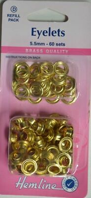 Hemline Eyelets, Brass Quality, 5.5mm, 60 Sets, Refill Pack, Directions On Pack