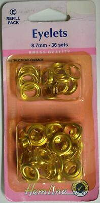 Hemline Eyelets, Brass Quality, 8.7mm, 36 Sets, Refill Pack, Directions On Pack