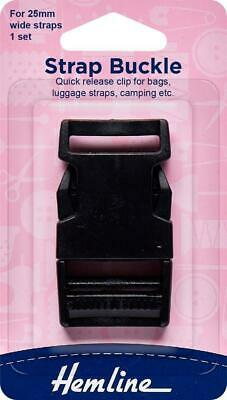 """Hemline Strap Buckle Clip 25mm, 1"""", Quick Release Clip for Bags Luggage Camping"""