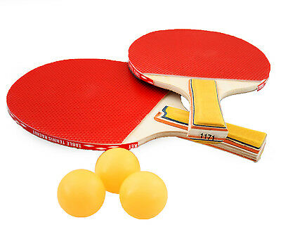 Set For 2 Player Table Tennis Ping Pong Set Game Rackets Bats + 3 Balls