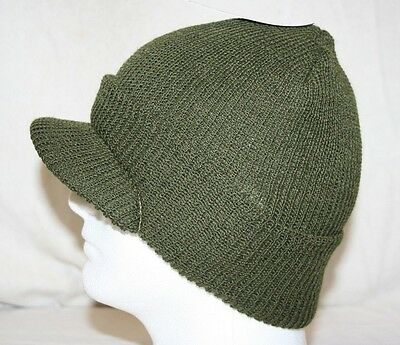 GI MILITARY ARMY STYLE OD GREEN 100% KNIT WOOL JEEP CAP MASH RADAR HAT U.S. MADE
