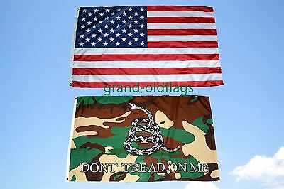LOT 3' X 5' U.S. AMERICAN & US CAMO GADSDEN DONT TREAD ON ME TEA PARTY  FLAG 3X5