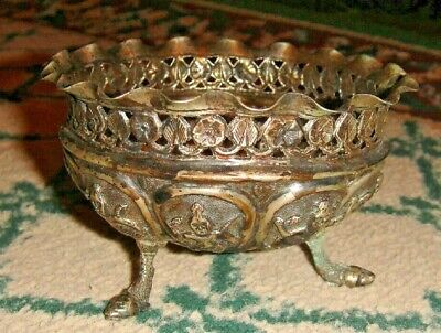 Vintage African Art Silver Tin Metal Prayer Cup-Footed-Raised Tribal Figures