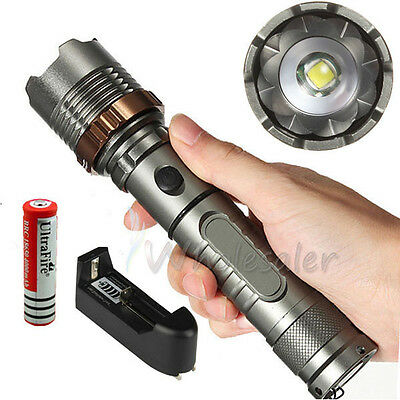 2000LM UltraFire CREE XML T6 LED Tactical Flashlight Torch+18650 Battery+Charger