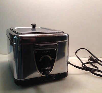 Vintage Lasko Model No. 100 Chrome Deep Fryer 50s Nice Vintage Look Works Great