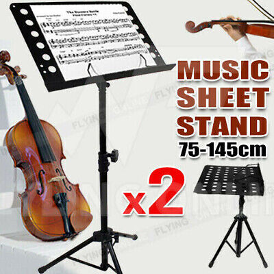 2X PRO Adjustable Heavy Duty Stage Music Sheet Stand Large Black Folding OZ NEW
