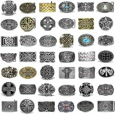 Hbum0333 Celtic Eternity Knot Trinity Cross Floral Cowboy Cowgirl Belt Buckle