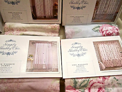 Simply Shabby Chic Voile Window Panel Floral Roses Lavender White/Lilacs NEW