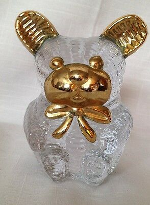 Vintage 1980's Lead Crystal Bear Paper Weight w/ Golden Accents