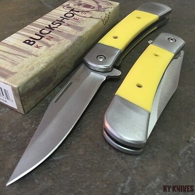 "8"" BUCKSHOT Classic Yellow Spring Assisted Open Pocket Knife YC-S-8201 zix1"