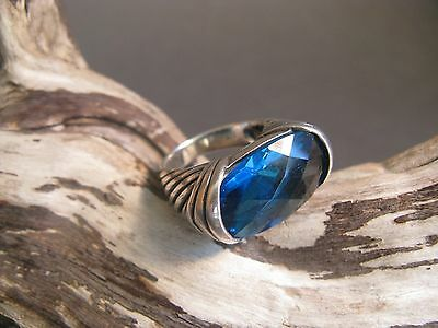 BIG BOLD MODERN STERLING SILVER 925 DEEP BLUE STONE WOMEN'S FINE RING SZ 6.5