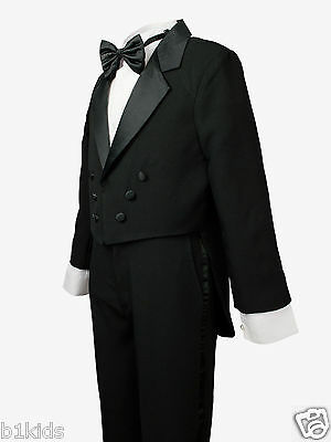 Boys Tuxedo Tail Black Kids Children Formal Party Toddler Size S-XL 2T-4T  5-20