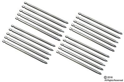 """20 pc 6"""" INCH  #2 PHILLIPS SCREW STEEL DRILL BITS W/ MAGNETIC TIPS"""