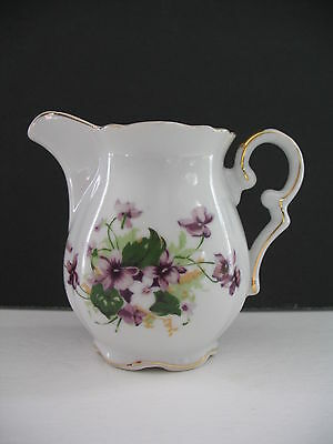 Saji VIOLETS Creamer - 4-5 oz - GUC - Gold Trim Loss to Rim