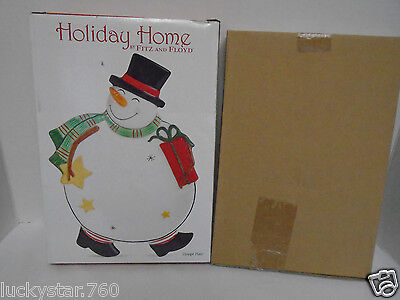 """2007 FITZ & FLOYD HOLIDAY HOME """"HOLIDAY WISHES"""" CANAPE PLATE NIB"""