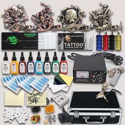 Professional Complete Tattoo Kit 4 Top Machine Gun 8 Ink 50 Needle Power Supply