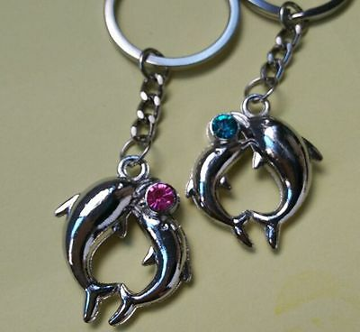 NEW Fashion couple keychains Dolphin lovers creative gift metal keyring SL33