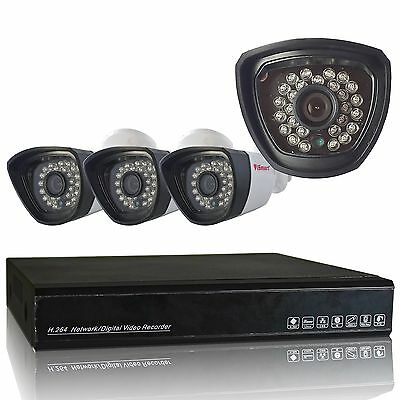 4 Channel Full AHD DVR NVR 720P Home Video Surveillance Security Camera System