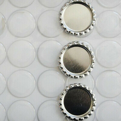 COMBO 100 Silver FLATTENED FLAT BOTTLE CAPS LINERLESS & 100 ADHESIVE STICKERS