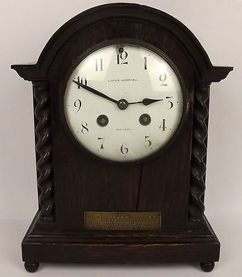 Oak Cased Mantle Clock Presented To Military Medal RFA Recipient