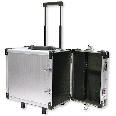 "Aluminum Rolling Travel Jewelry Sales Case  15 1/2""  With 12 Trays And Inserts"