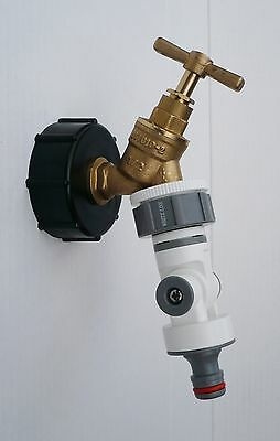 """IBC Tank Cap (2""""-S60) with Brass Tap & 1/2"""" FULLY ADJUSTABLE Snap On Connector"""