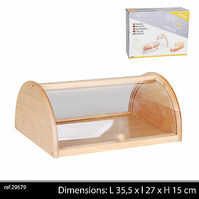 Bread Bin Beech Wood Wooden Acrylic Roll Top Kitchen Food Storage Box Container
