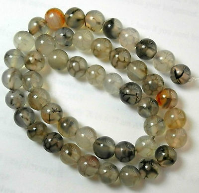 High Quality 8Mm Natural Silver Grey Dragon Vein Agate Round Beads!!!! ""
