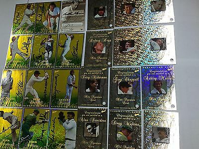 ULTRA RARE--1998/99 Select Cricket Ashes Heroes Signature Card Full Set (12)-111