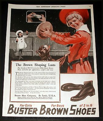 1920 Old Magazine Print Ad, Buster Brown Shoes, Unrivaled For Appearance & Wear!